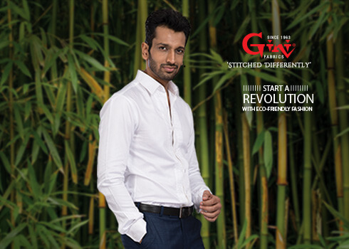 Stiched White Shirts of Bamboo Fabric - Gini Silk Mills